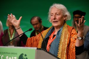 Margaret Blakers talar på European Greens kongress i Liverpool